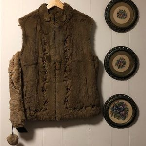 Jackets & Coats - authentic rabbit fur vest with matching headband